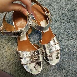 Lanvin Silver Metallic Ankle Strap Sandal Heels